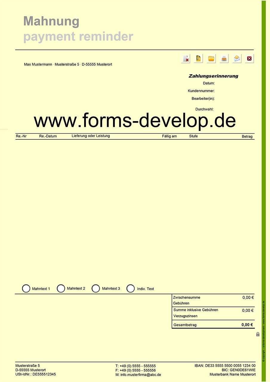 Pdf Formular Mahnungen Flexible Mahnarten Zahlungserinnerung 1