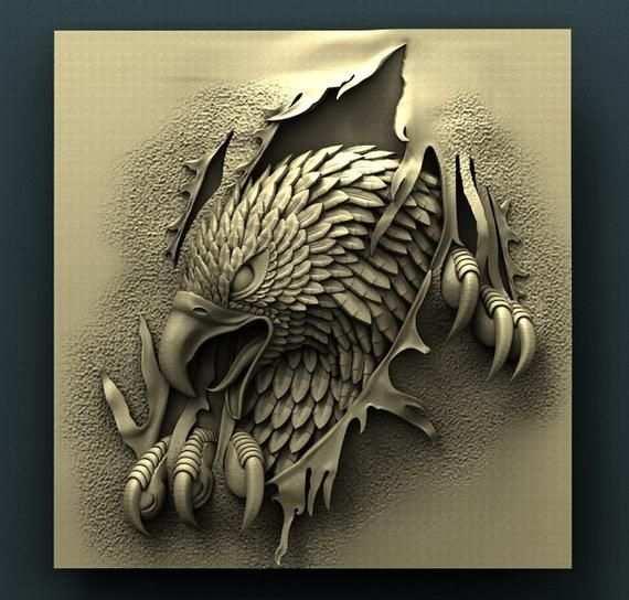 3d Stl Model For Cnc Router Engraver Carving Machine Relief Artcam Aspire Eagle Aztec Art Wood Carving Art