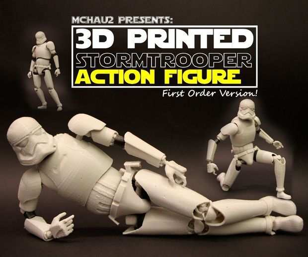 3d Printed Stormtrooper Action Figure Realistic Articulation