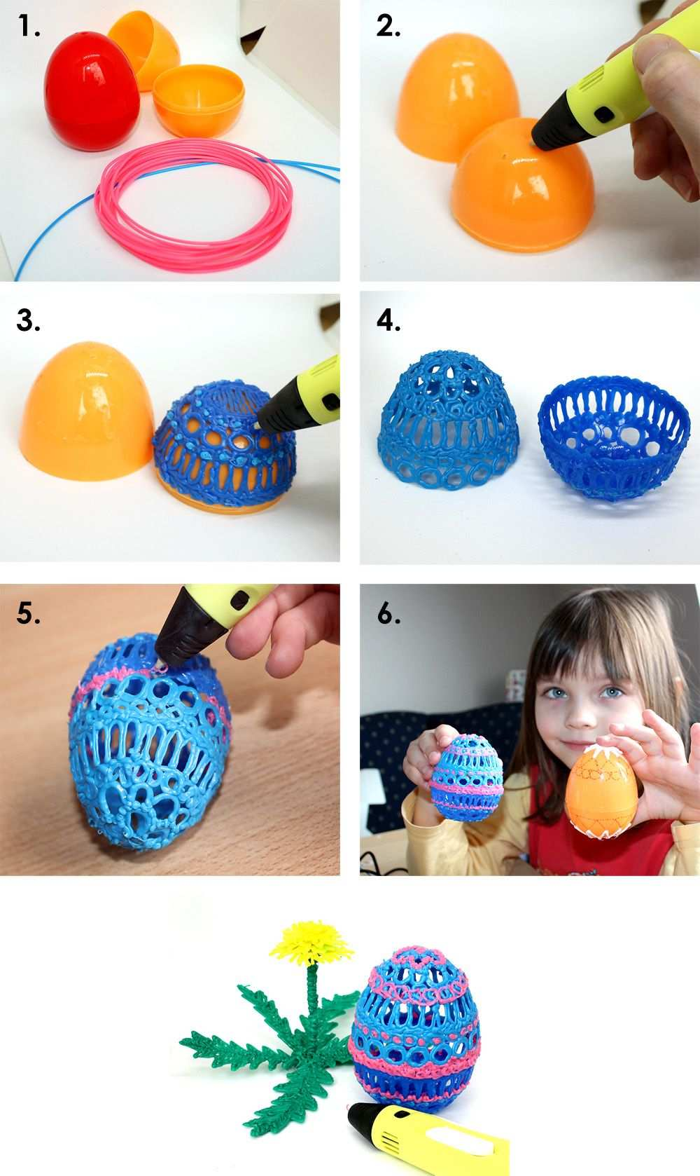 The Eastereggs Make With 3d Pen Spring Egg Filament 3d Dyi