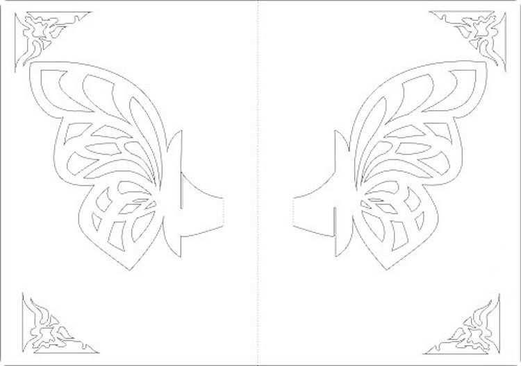 Kirigami Schmetterling Karte 3d Motiv Vorlage Ausdrucken Paper