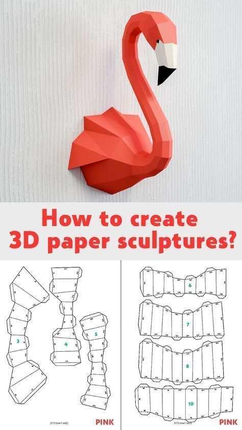 Diy Paper Craft Template 3d Papercraft Model Sculpture Flamingo