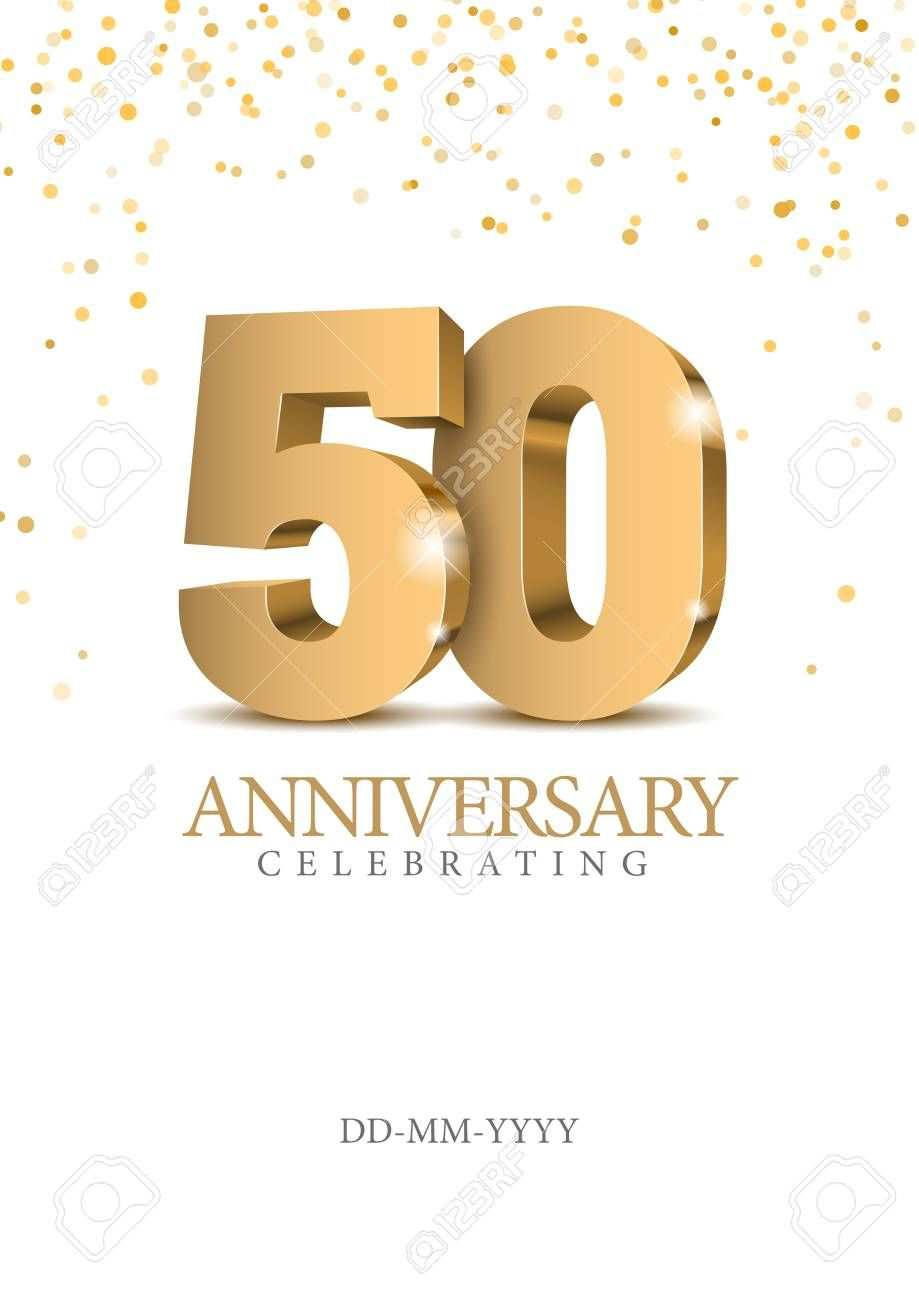 Anniversary 50 Gold 3d Numbers Poster Template For Celebrating