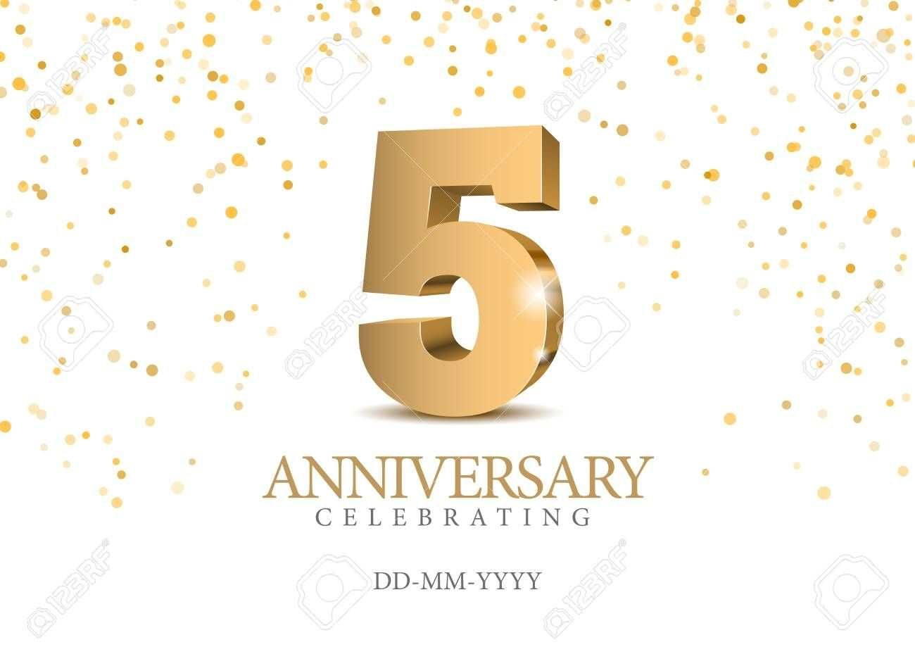 Anniversary 5 Gold 3d Numbers Poster Template For Celebrating
