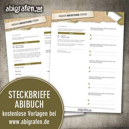 Kostenlose Vorlagen Fur Steckbrief Abibuch Abizeitung Bei