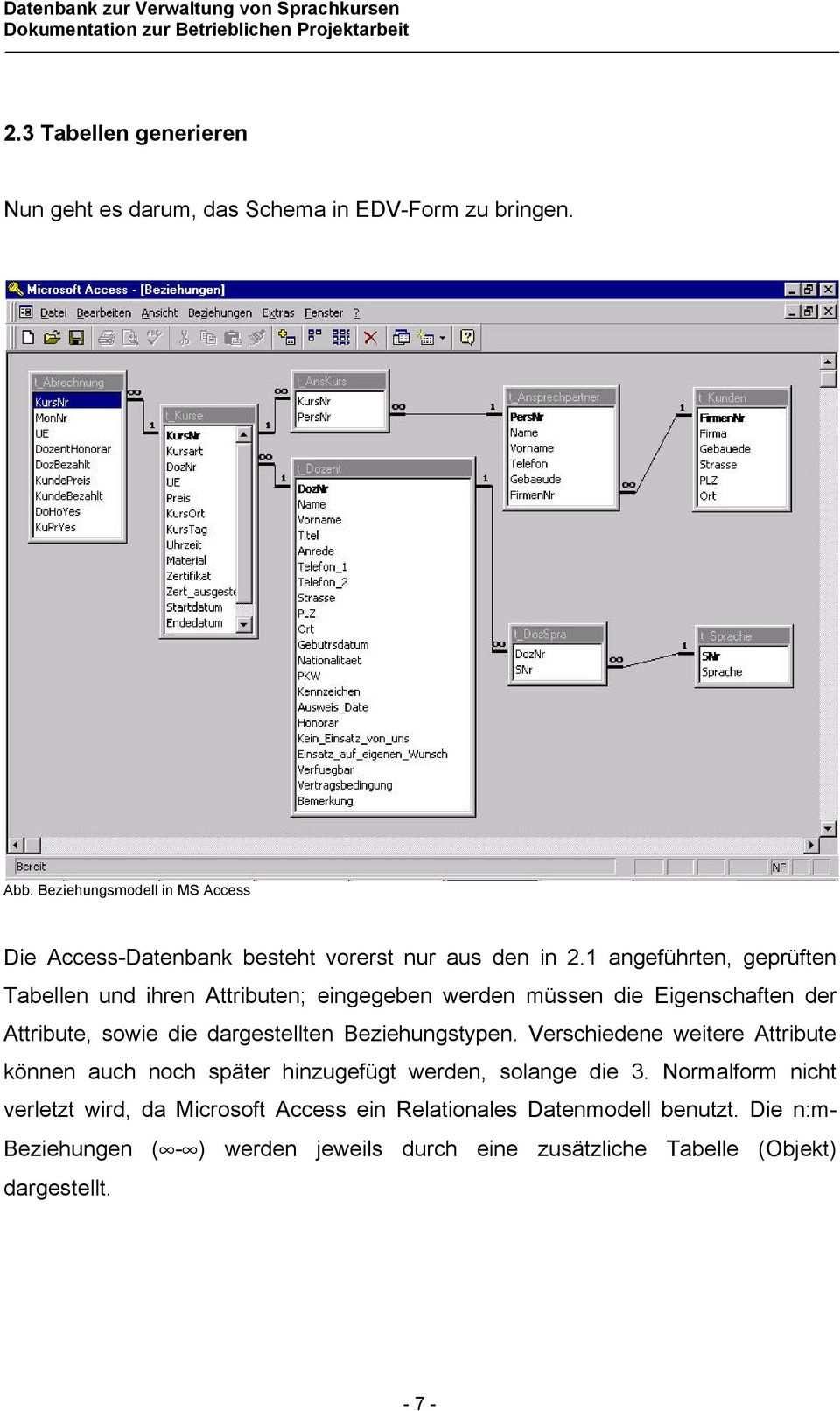 Microsoft Access 97 Datenbank Zur Verwaltung Von Sprachkursen