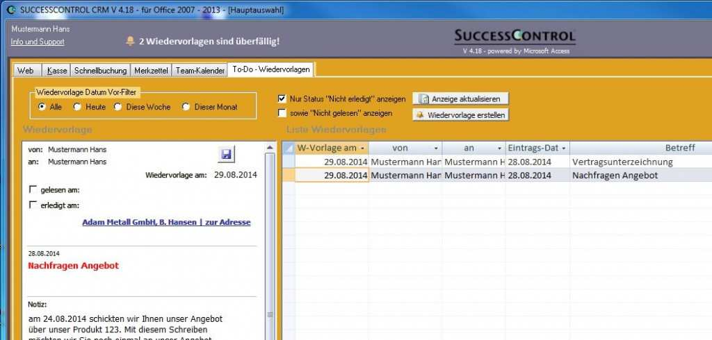 Access Datenbank Fur Wiederkehrende Termine Und Wiedervorlagen