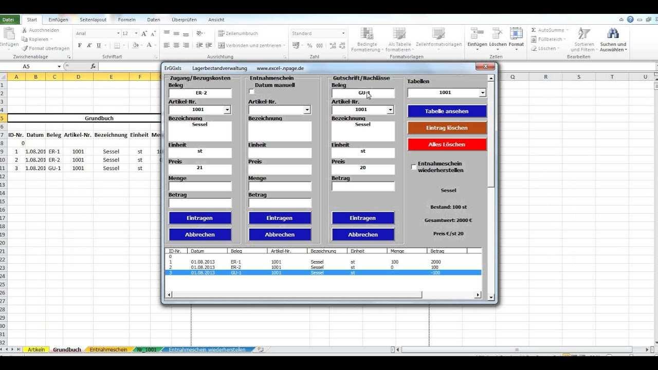 Lager Programm Lagerverwaltung Auf Basis Einer Excel Datei 3276