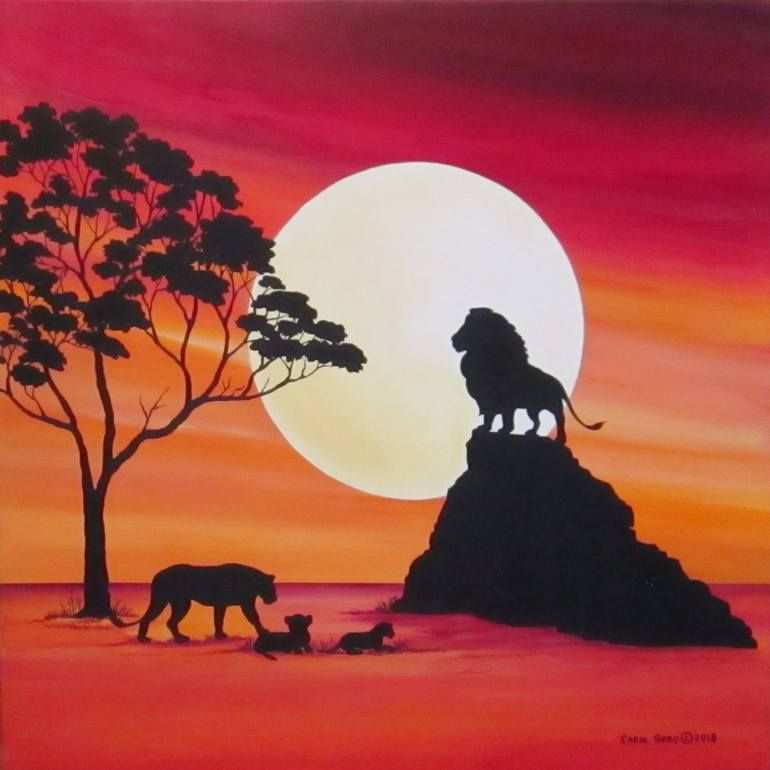 Moon In Africa Lions Painting In 2020 Tiere Malen Abstrakt