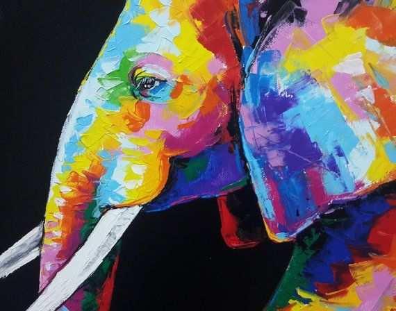 60 X 120 Cm Colorful Elephant Painting Wall Decor Etsy