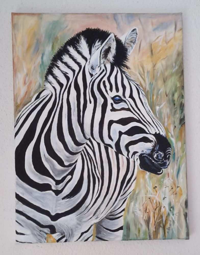 Acrylbild Auf Leinwand Zebra 30x40x2 Cm Afrika Bilder