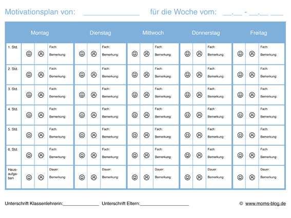 Motivationsplan Fur Schuler M Schulproblemen