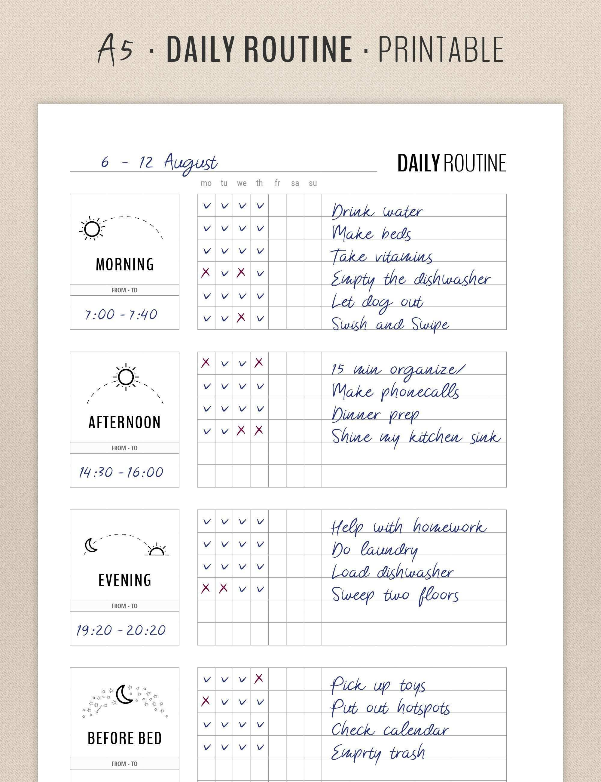 Daily Routine Planner Printable Flylady Morning Routine Checklist