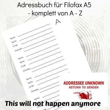 Adressbuch A5 Adressubersicht Download Filofax Planner A5 Etsy