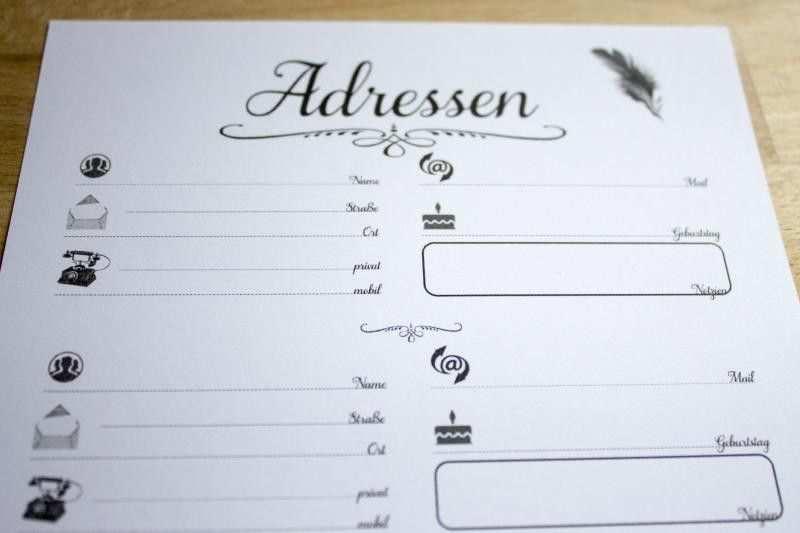 Adress Liste Pdf A5 Schreibideen Kalender Ausdrucke Arbeit