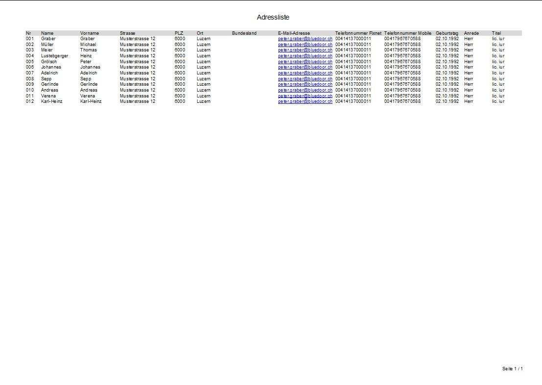 Adressverwaltung Excel Vorlage Muster Vorlage Ch
