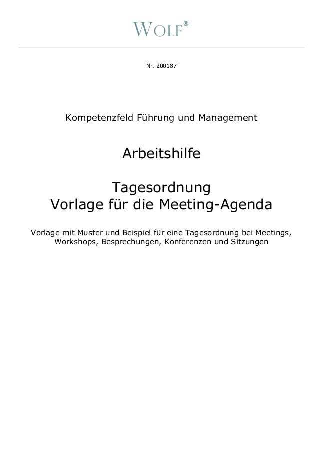 Arbeitshilfe Inkl Vorlage Muster Beispiel Tagesordnung Bei Meetin