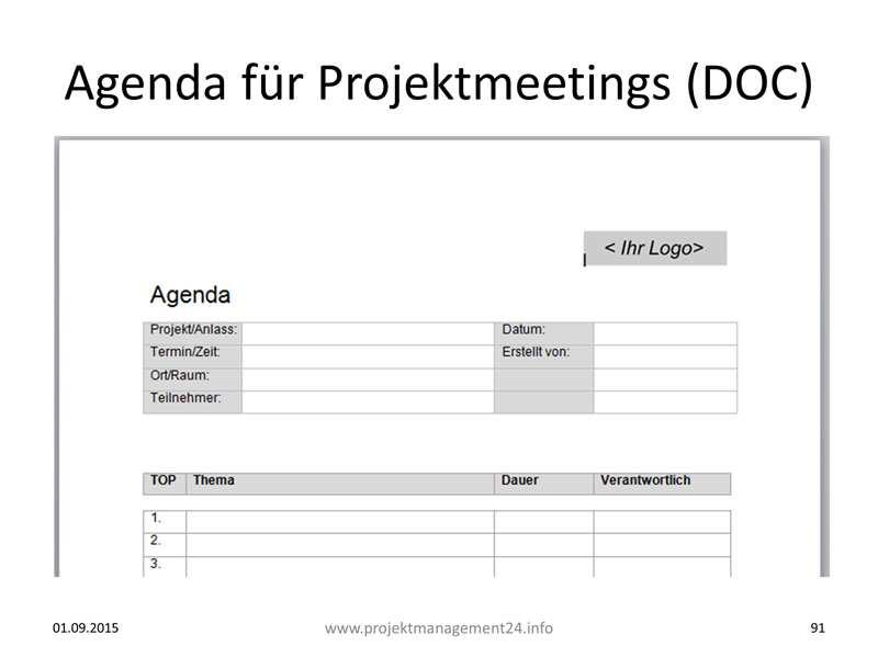Agenda Fur Projektmeetings Mit Vorlage Zum Download In Word