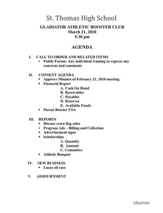 Booster Club Meeting Agenda Template Meeting Agenda Template