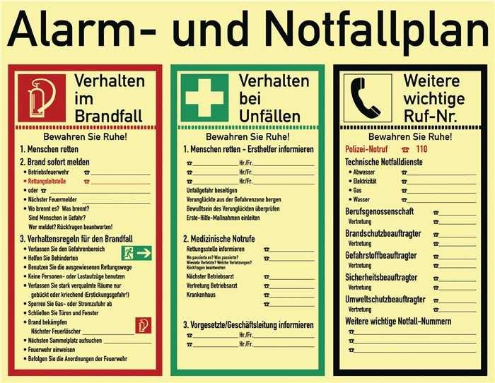 Alarm U Notfallplan Alarm U Notfallpan B 620xh 480mm