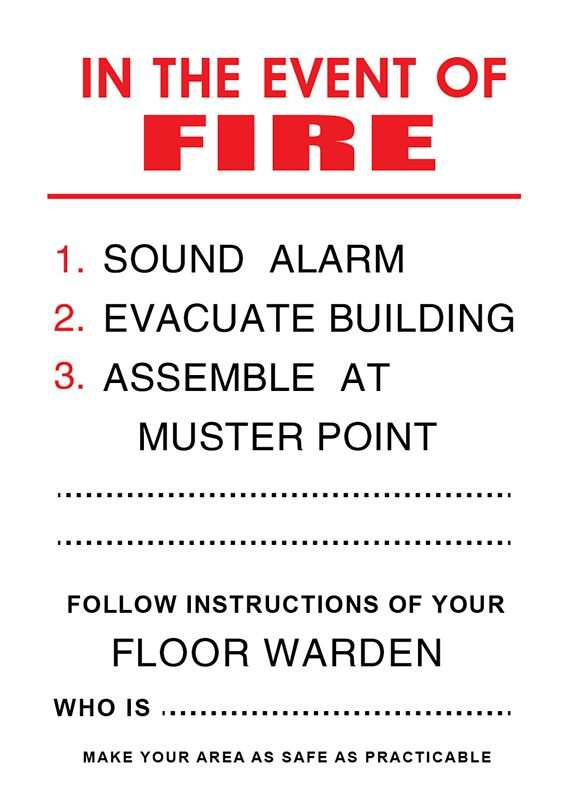 Fire Related Sign Plastic In The Event Of Fire Large Fire
