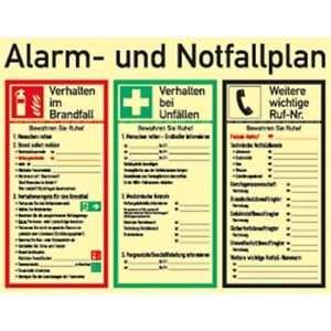 Schild Pvc Alarm Und Notfallplan Iso 7010 Langnachleuchtend 48x62