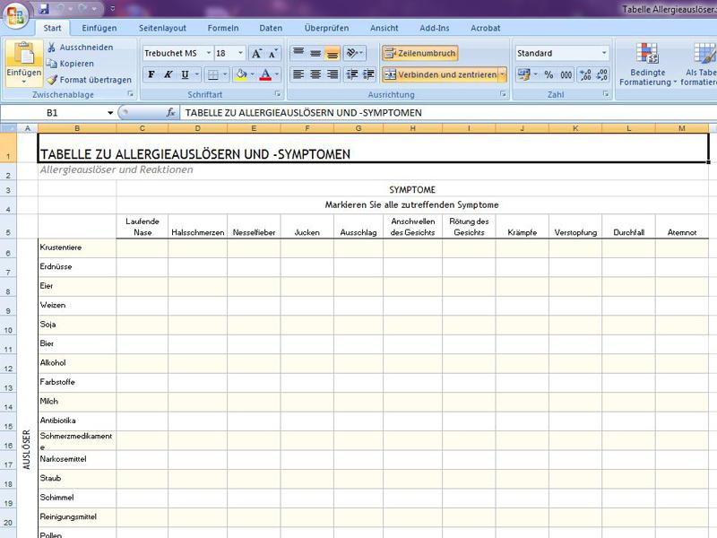 Tabelle Allergieausloser Excelvorlage De