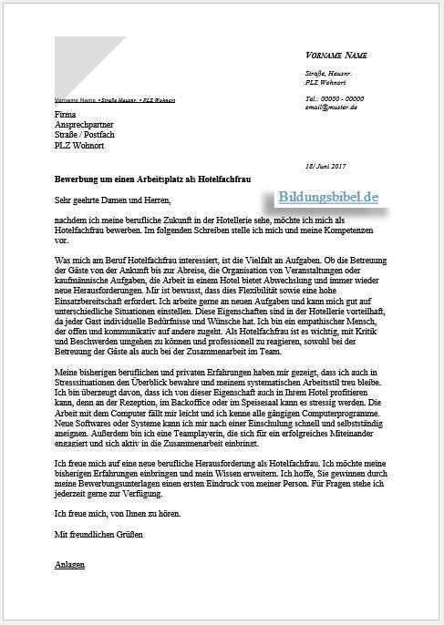 Bewerbung Hotelfachfrau Hotelfachmann Bewerbungsschreiben