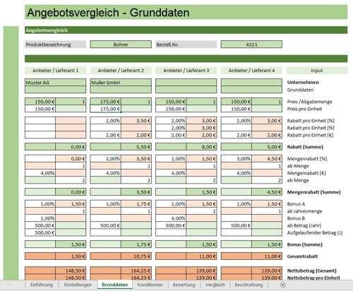 Angebotsvergleich Mit Excel Sofort Download