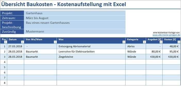 Ubersicht Baukosten Kostenaufstellung Mit Excel Alle Meine Vorlagen De