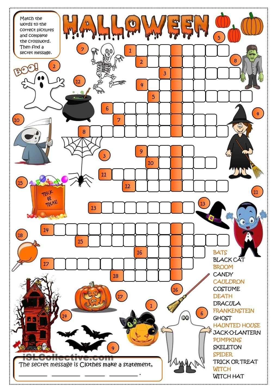 Halloween Crossword Halloween Worksheets Halloween Elementary