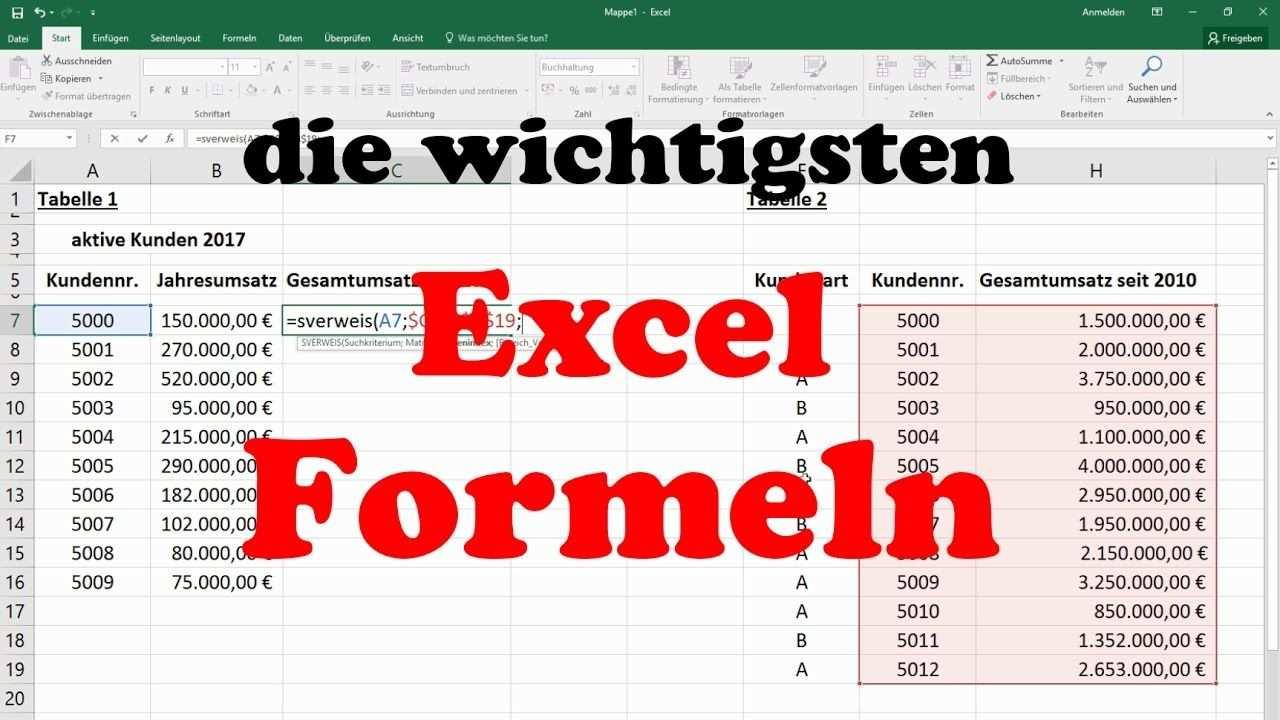 Excel Formeln Und Funktionen Sverweis Wenn Dann Sonst Summewenn Zahlenwenn Anzahl2 Grundkurs Youtube Excel Tipps Lernen Tipps