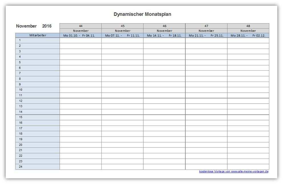 Dynamischer Monatsplan Monatsplaner Monatsplaner Vorlage Excel