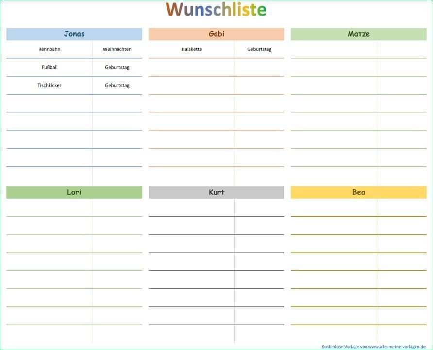 Wunsche Erfullen Mit Hilfe Einer Wunschliste Excel Vorlage