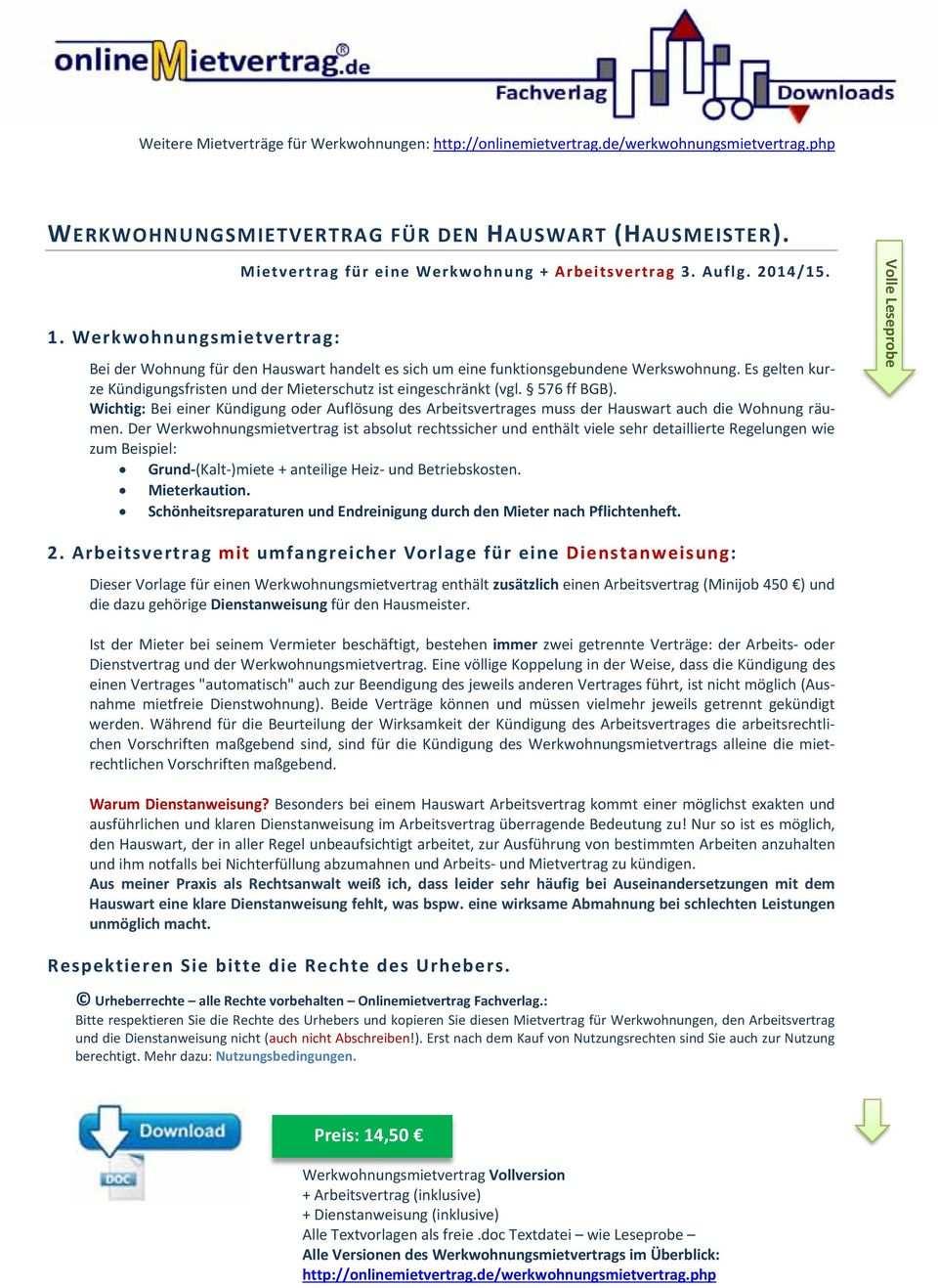 Werkwohnungsmietvertrag Fur Den Hauswart Hausmeister Pdf Free