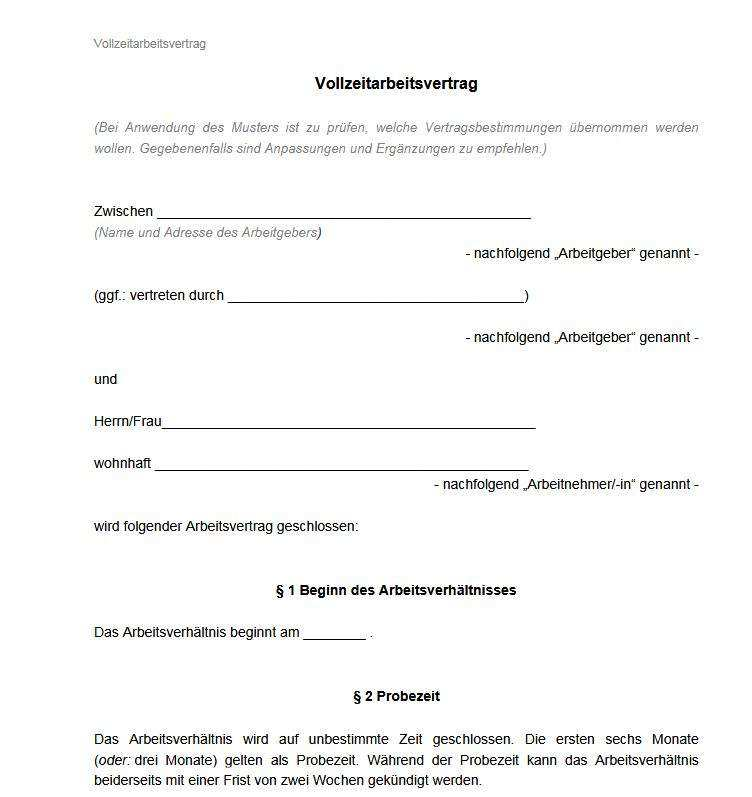 Arbeitsvertrag Vollzeit Muster Download Freeware De