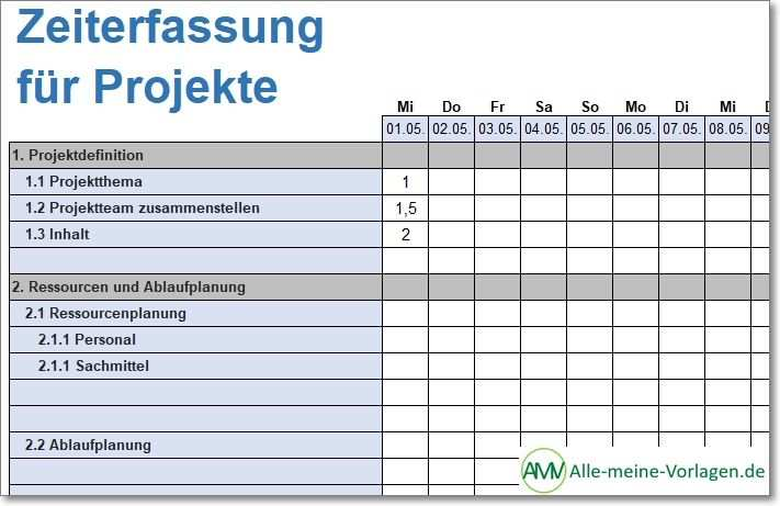 Zeiterfassung Fur Projekte Zeiterfassung Excel Vorlage Projekte