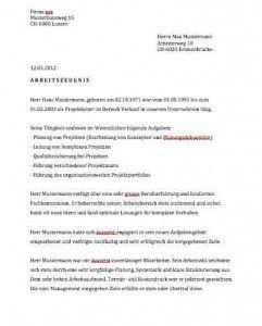 Arbeitszeugnis Muster Vorlagen Schweiz Arbeitszeugnis