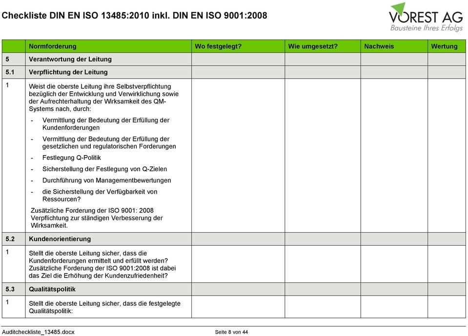 Vorschau Pdf Audit Checkliste Und Protokoll Nach Iso 13485 2010