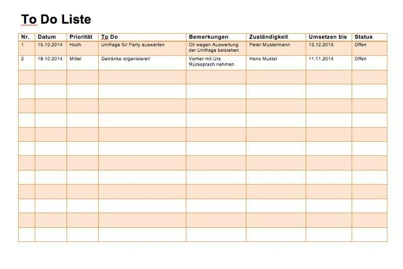 To Do Liste Vorlage Word Und Excel To Do Liste Vorlage