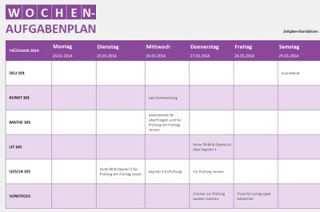 Aufgabenplan Woche Fur Excel Online Familien Planer Planer