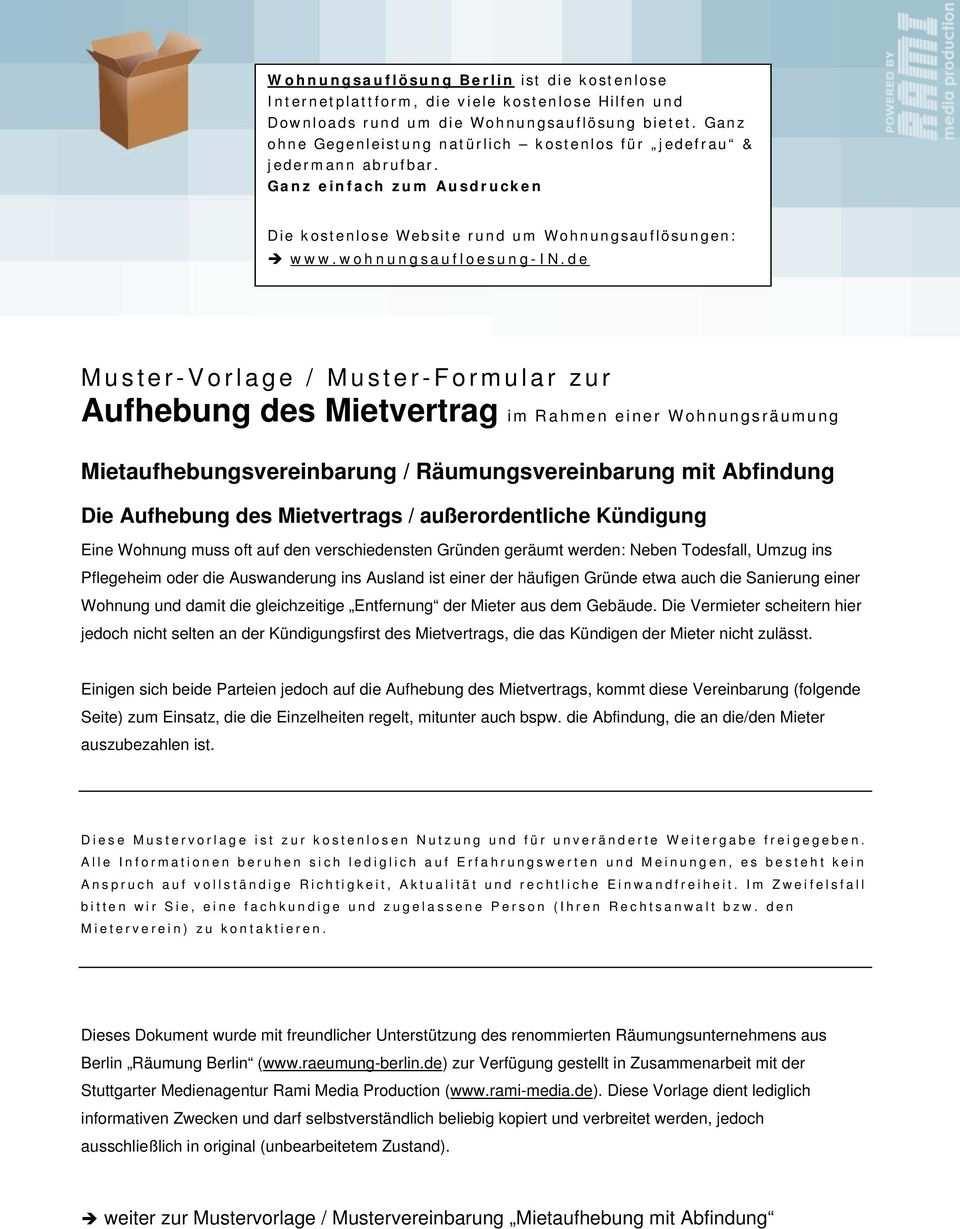Muster Vorlage Muster Formular Zur Aufhebung Des Mietvertrag Im
