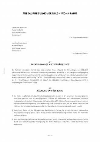 Mietaufhebungsvertrag Fur Wohnungsmietvertrage Smartlaw