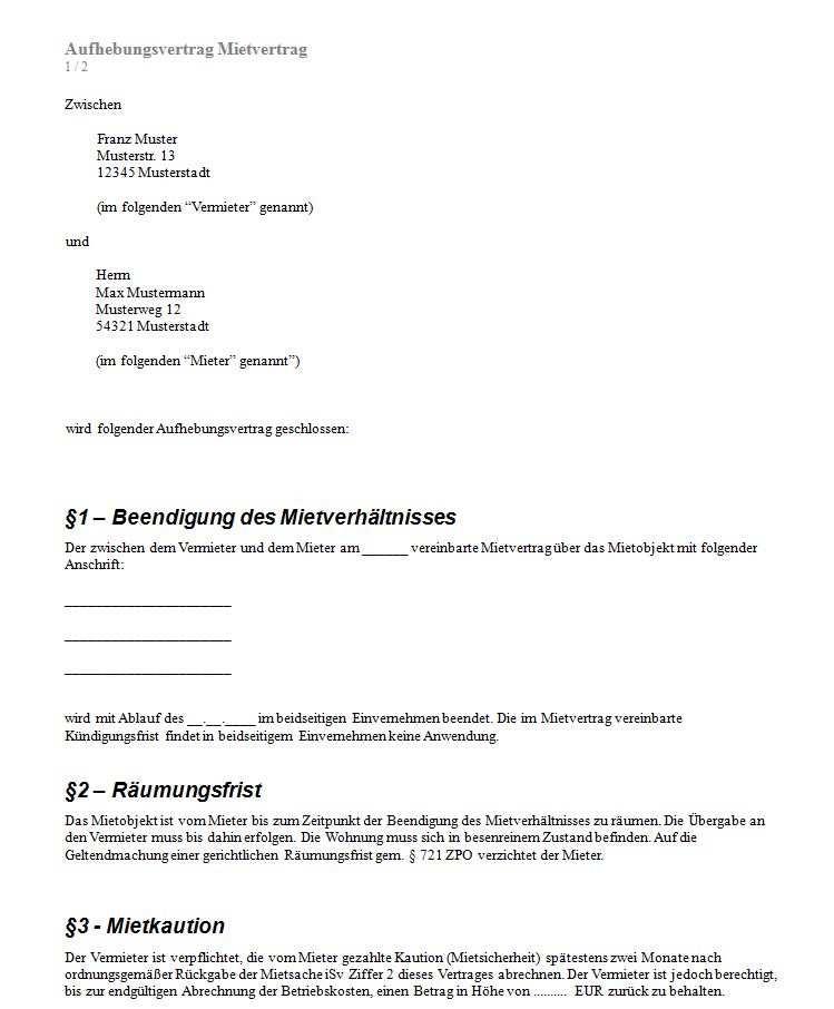 Mietvertrag Kundigen Formular