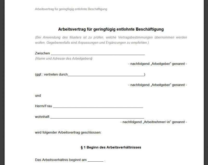 Minijob Arbeitsvertrag Vorlage Download Freeware De