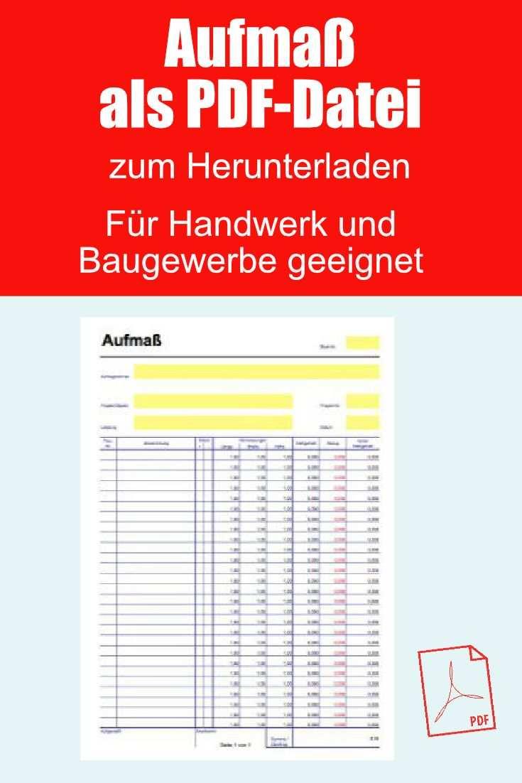 Aufmassblatt Aufmasszettel Als Pdf Datei In 2020 Vorlagen
