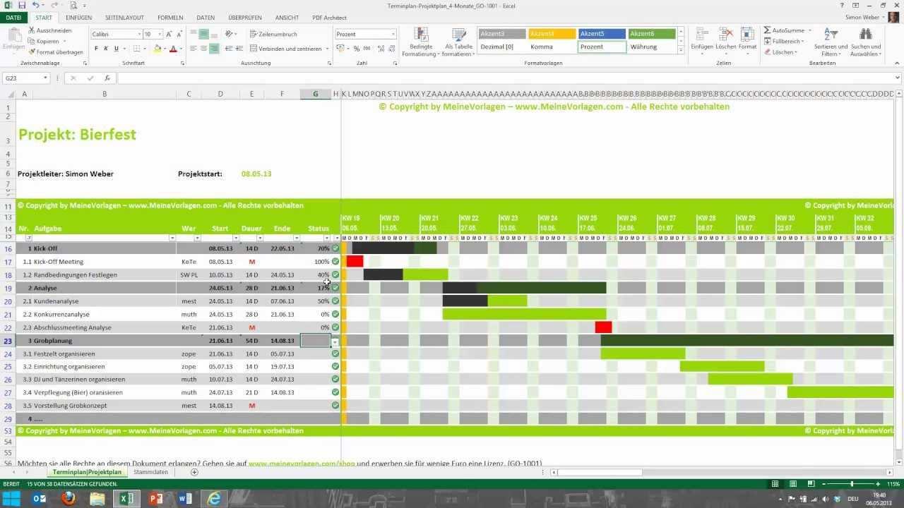 Tutorial Fur Excel Projektplan Terminplan Zeitplan Meinevolagen