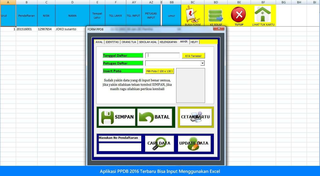 Download Aplikasi Ppdb 2016 Excel Fitur Input Dan Edit Photo