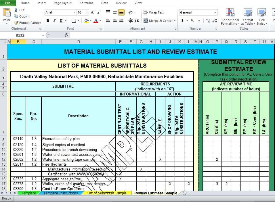Free Download Professional Material List Template Excel
