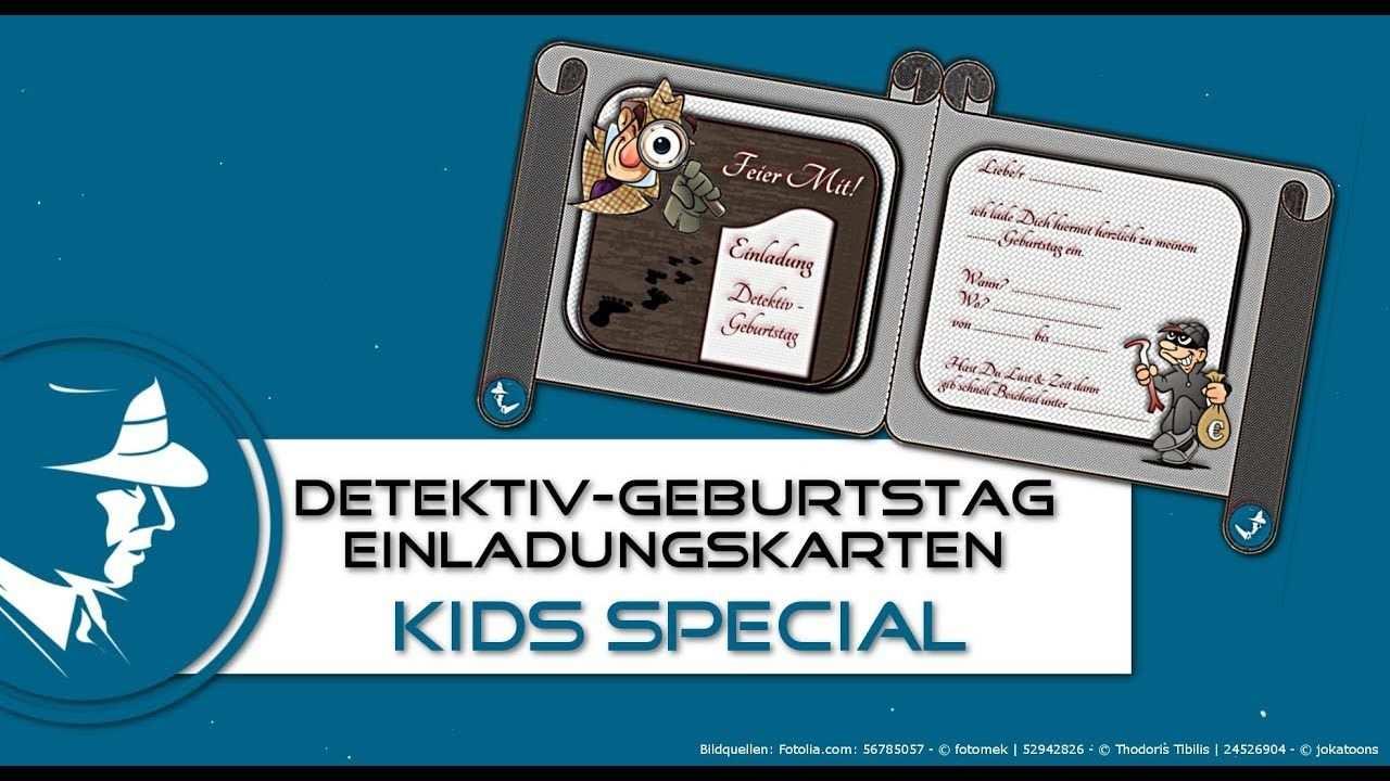 Detektiv Kindergeburtstag Einladung Einladungskarte Zum Detektiv